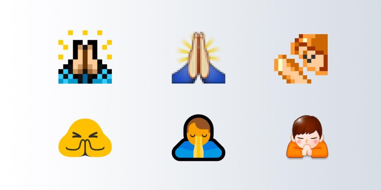 prayer hands emoji versions