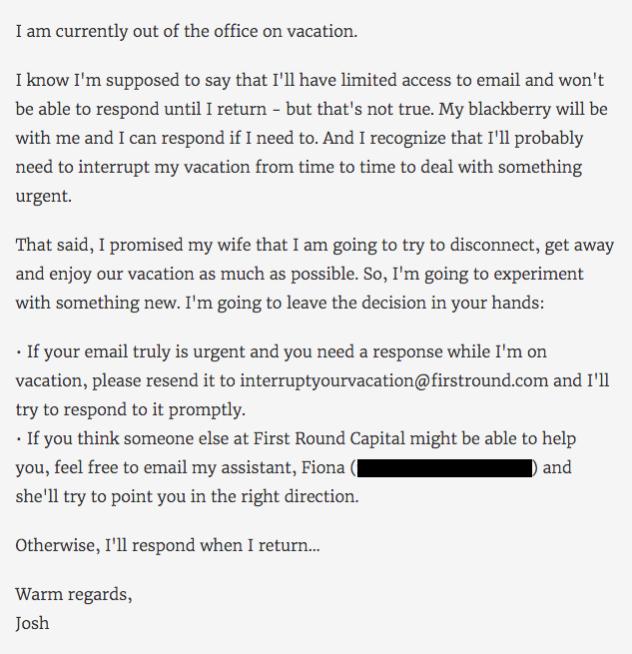 mensaje email fuera de la oficina