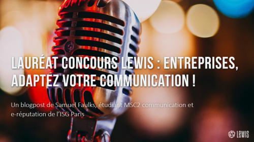 Lauréat concours LEWIS – entreprises : adaptez votre communication !