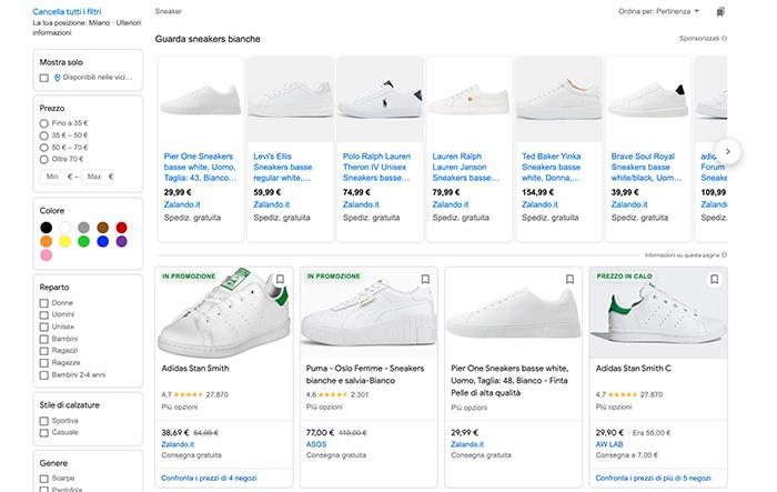 Prodotti Google Shopping e attributi scarpe