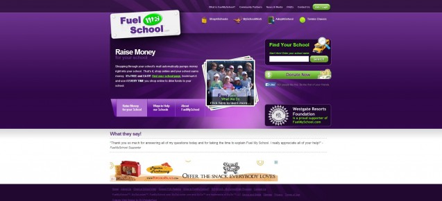 Fuel My School homepage