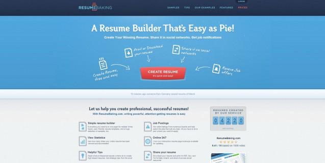 Resume Baking homepage