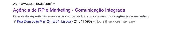 google text exemplo