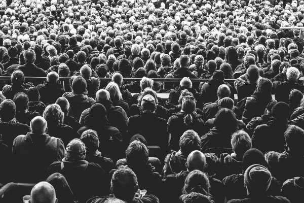 Image of audience in black and white