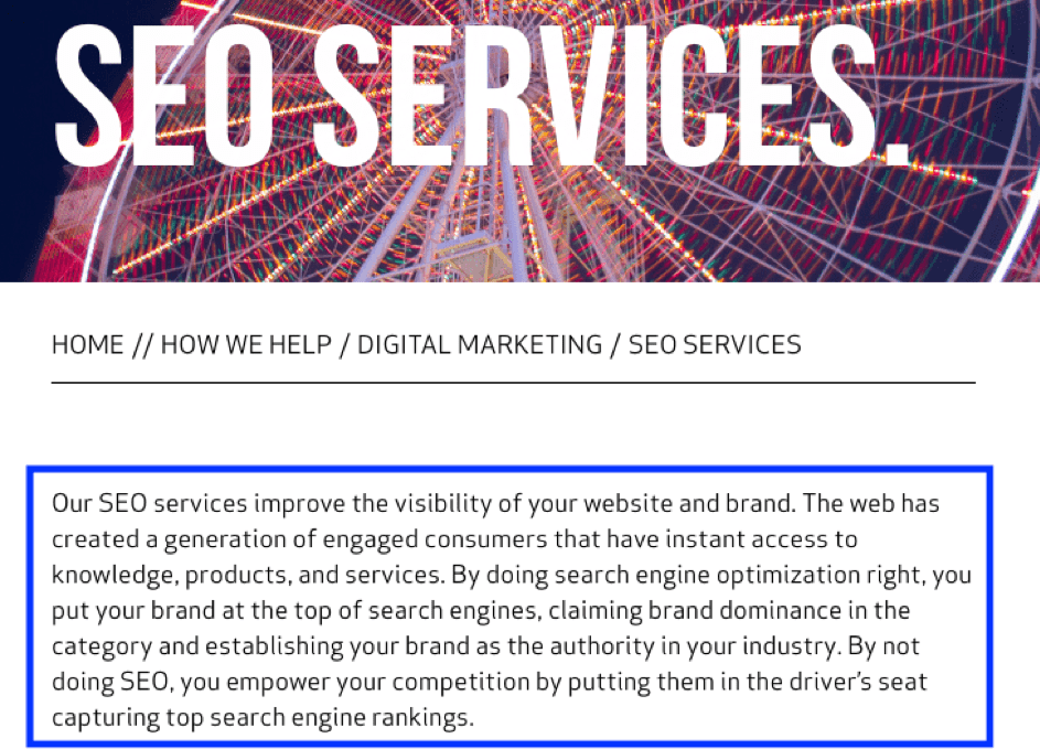 SEO Services Body Copy