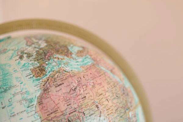 Globe with pink background