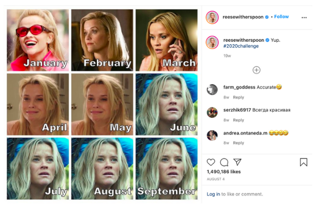 Instagram post of Reese Witherspoon and 2020 challenge with different characters for each month of the year