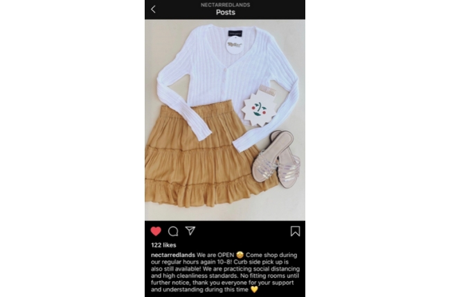 Instagram example post addressing COVID-19