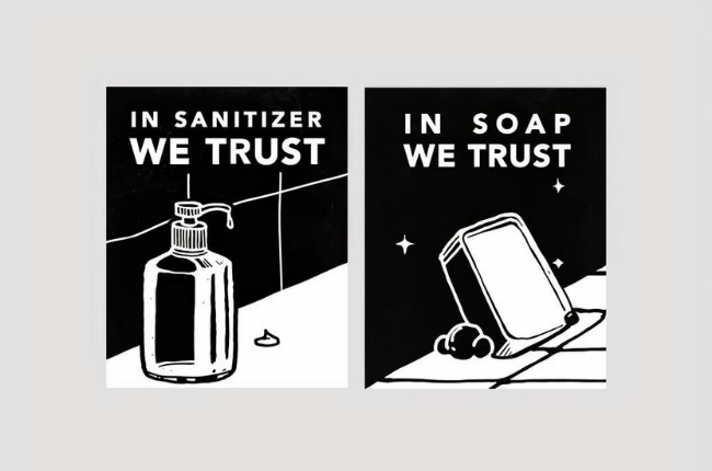 """comic strip graphic that said """"In Sanitizer We Trust"""""""