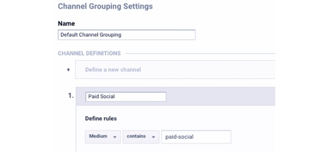 Channel Grouping Settings example
