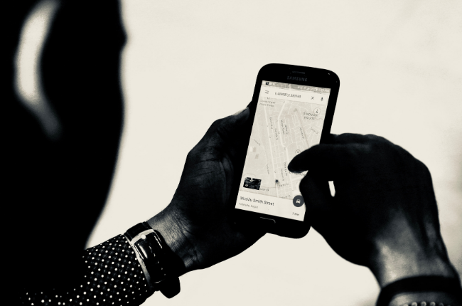 Black and white image of Google maps