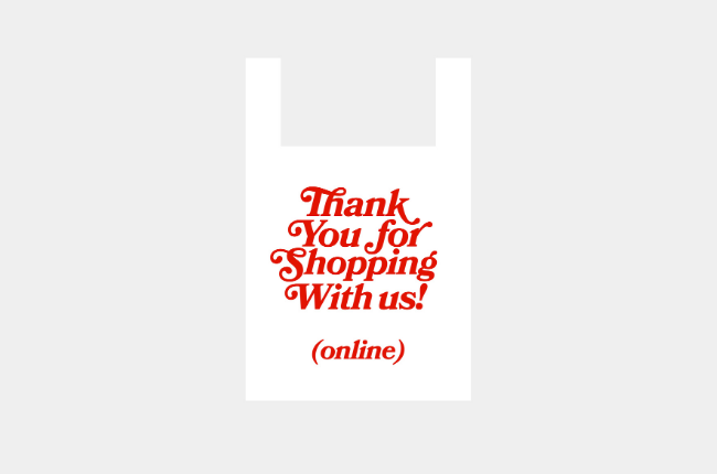 "Illustration of shopping bag with red lettering ""Thank you for shopping with us! (online)"""