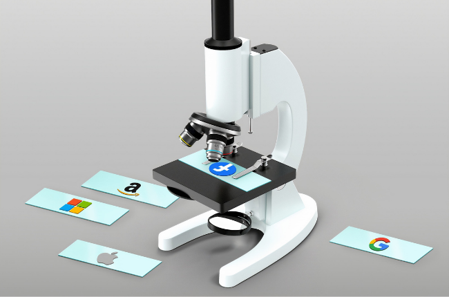 Illustration of microscope and slides with social media logos