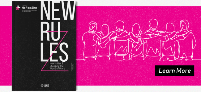 Report cover of New Rules against pink background with white line illustration