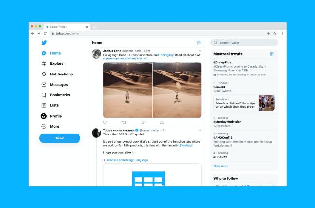 Screenshot of Twitter for desktop