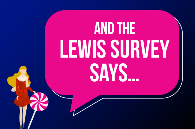 """Graphic of speech bubble with """"And the LEWIS Survey says"""""""