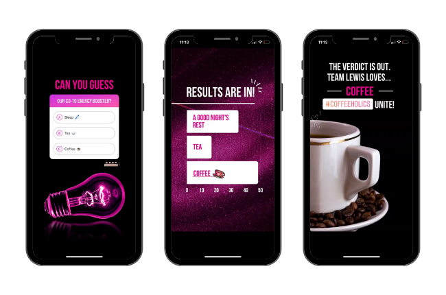 Set of Instagram Stories quiz and results on black phone