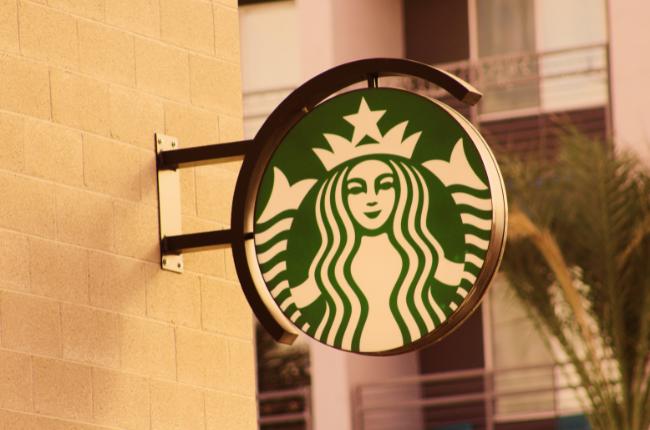Starbucks logo on sign