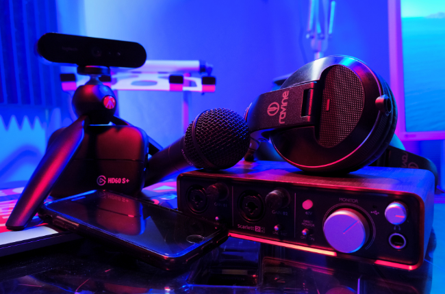 Mic, headphones, phone and videography gear