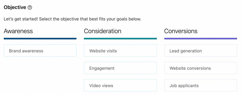 Screenshot of LinkedIn campaign objectives