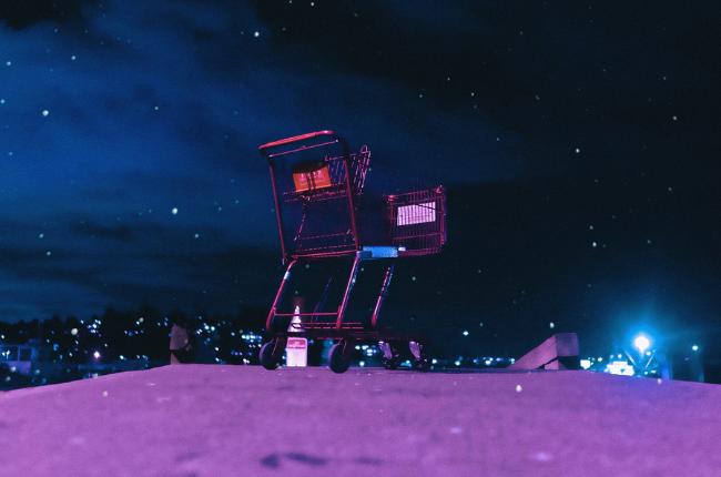 Shopping cart at night