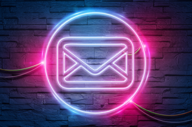 Neon sign of email symbol